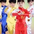 Niños Chino Tradicional Traje de Artes Marciales de Wushu Uniforme Traje de Kung Fu para Niños Niños Niñas Ropa puesta en Escena Set