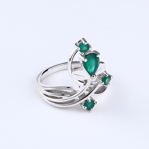 Image 5 - Gems Ballet 0.97Ct Natural Green Agate Gemstone Ring Solid 925 Sterling Silver Flower Ring For Women Wedding Fine Jewelry