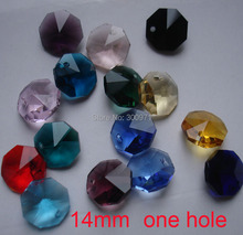 NOVA CHEGADA, 2000 pçs/lote 15 cores misturadas 14mm de vidro lustre de cristal octagon beads em um buraco, atacado FREESHIPPING