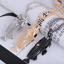 Exaggerated Fish Bone & Fishing Hook Pendant Necklaces Punk Style Black Gold Silver Color Link Chain Personality Jewelry