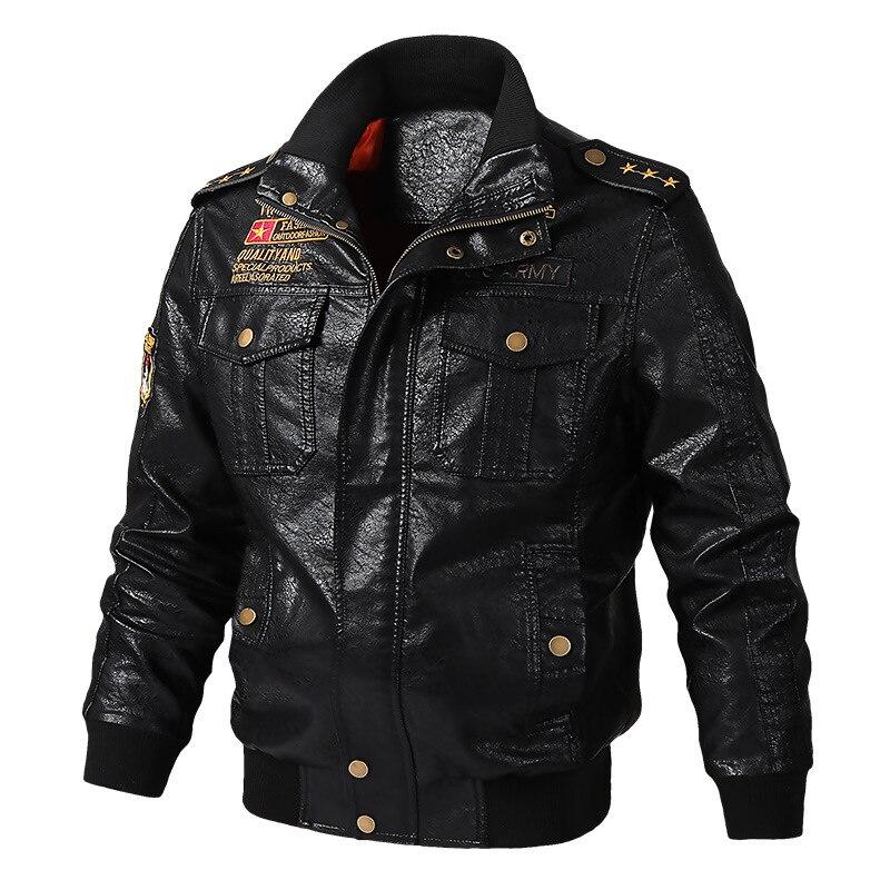 Jacket Stand Collar Harajuku Motorcycle Coat Streetwear Winter Warm Hot PU Zipper