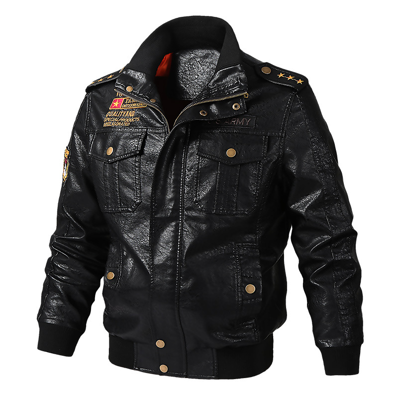 Winter Leather jacket Coat Winter Warm Leather Outerwear Zipper PU Bomber Jacket Stand Collar Motorcycle Harajuku Streetwear Hot-in Faux Leather Coats from Men's Clothing