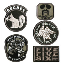 GUGUTREE embroidery HOOK&LOOP Men in Black patches squirrel action badges applique for clothing AD-162