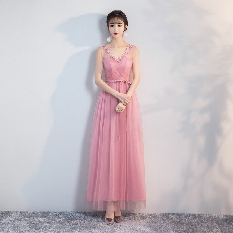 Maxi Dress Red Bean Pink Bridesmaid Dresses Wedding Party Dresses For Women Back Of Bandage Sexy Prom Long Dress For Wedding