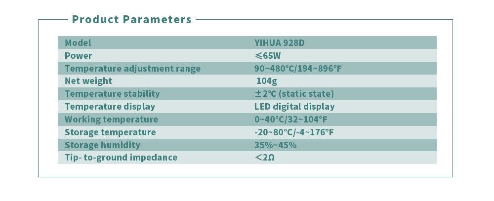 ღ ღESD Thermostatic Soldering Iron YIHUA 928D With Button ...