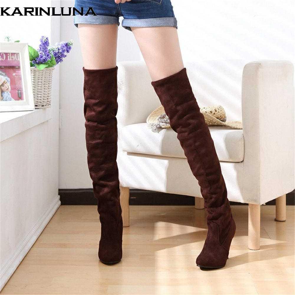 KARINLUNA/Новое поступление; Прямая поставка; большие размеры 43; пикантные женские вечерние сапоги для выпускного вечера; Сапоги выше колена на высоком каблуке; женская обувь