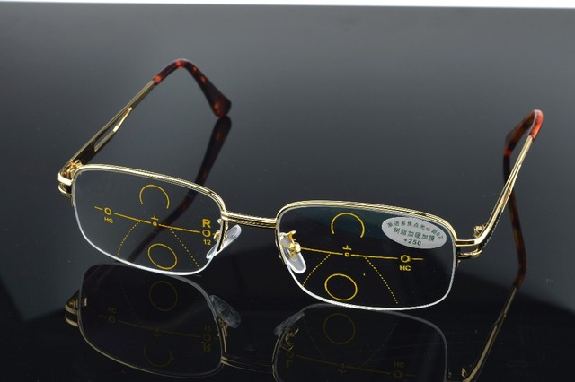 08461de774 Progressive multifocal reading glasses gold frame See near far Ultra light  alloy intelligence +1.0 +