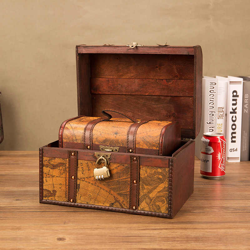 คลาสสิก Retro Creative Storage กล่องไม้โบราณ Treasure Chest เครื่องประดับ Home ตกแต่งของขวัญ