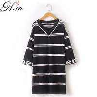 H SA 2017 Long Sweater Dresses V Neck Knitted Pullovers Half Sleeve Striped Knitted Jumpers Black