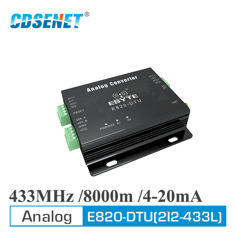 Analog Acquisition Wireless Transceiver 433MHz Modbus 4-20mA E820-DTU(2I2-433L) Long Range Transmitter And Receiver