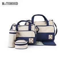 MOTOHOOD 5 stücke Baby Windel Tasche Sets Große kapazität Modische Mutter der Mutterschaft Tasche Baby Kinderwagen Windel Tasche Mama tasche