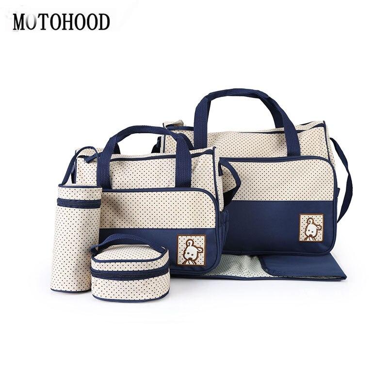 MOTOHOOD 5pcs Baby Diaper Bag Sets Large-capacity Fashionable Mother's Maternity Bag Baby Stroller Nappy Bag Mommy Bag