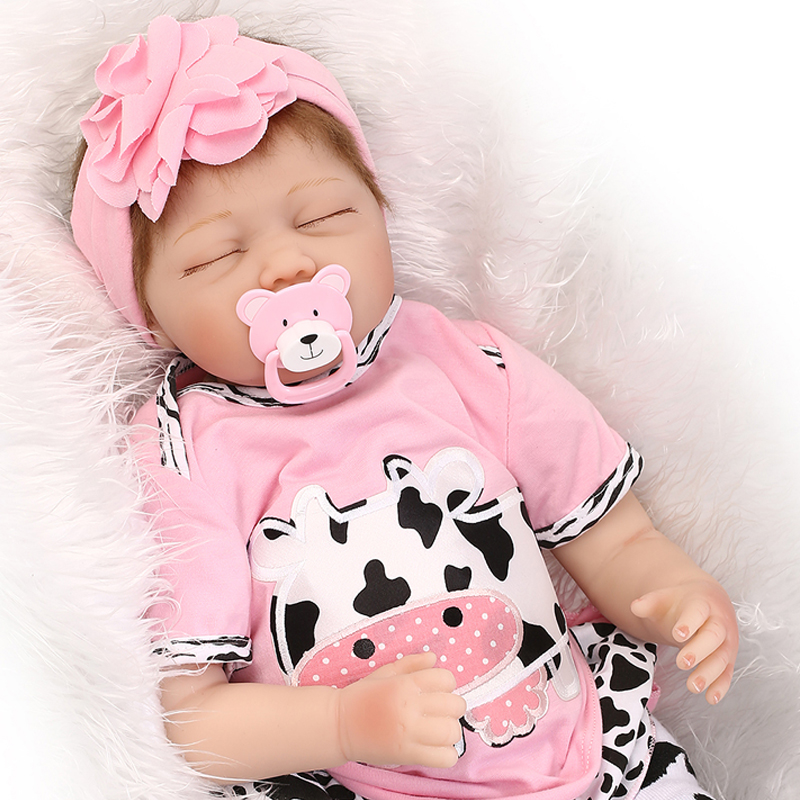 55cm Silicone Vinyl Reborn Baby Doll Toys Lifelike Pink Princess Newborn babies Doll Reborn Child Brithday Gift Girls Brinquedos