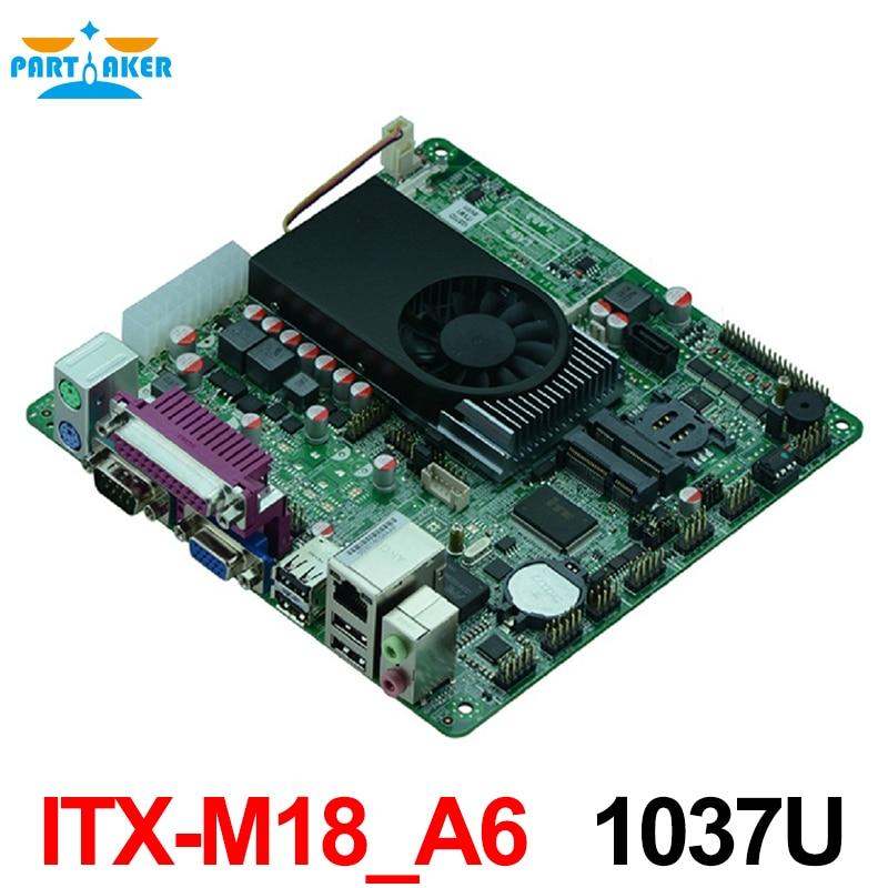 ITX-M18-A6 Intel 1037U Mini Itx industrial motherboard 170x170MM motherboard/pos motherboard high quality h61 itx motherboard dvi hdmi vga solid dual pcie industrial motherboard 100