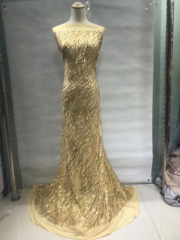2019 High Quality African French Lace Fabric Gold Swiss Voile Lace in Switzerland With Stones Nigeria Sequin Lace Fabric JL075