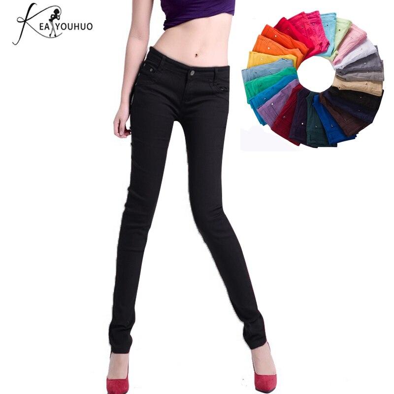 2018 Herbst Damen Hohe Taille Jeans Hose Frauen Kleidung Schwarz Weiß Frauen Hosen Bleistift Leggings Hosen Elastische Pantalon Femme