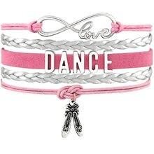c55cb6a61f0c Baile bailarina Ballet zapatos corazón infinito amor encanto pulseras plata  antigua joyería Rosa hecha a mano mujeres hombres re.