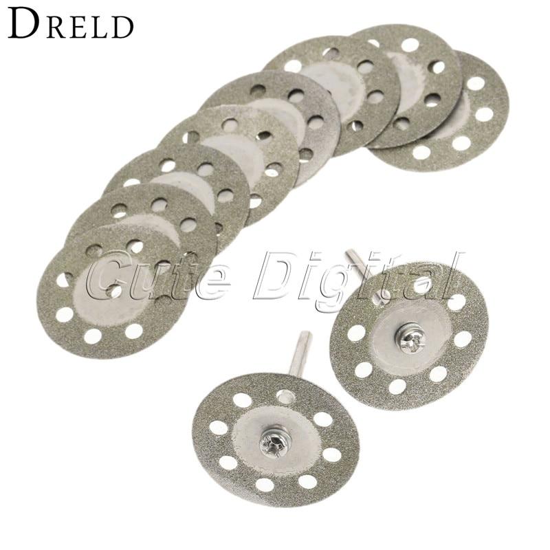 цена на 10pcs Dremel Accessories 30mm Diamond Circular Saw Blades Cutting Discs Cutter Wheel for Wood Cutting +Mandrel for Rotary Tool