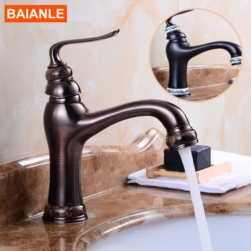 Deck Mounted Basin Sink Faucet Vintage Style Tap Black Bathroom faucets Brass finish washbasin taps Hot and cold water superfaucet bathroom faucet tap for bathroom basin faucet water tap washbasin taps for basin of bathroom