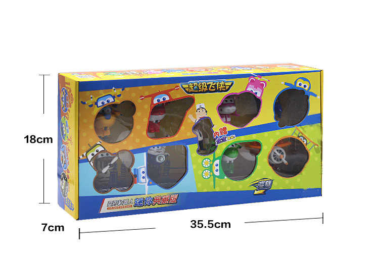8 pçs/set Super Asas de Avião Mini ABS Transformação Robot brinquedos Figuras de Ação Super Asa Jato de Animação para Crianças Caçoa o Presente