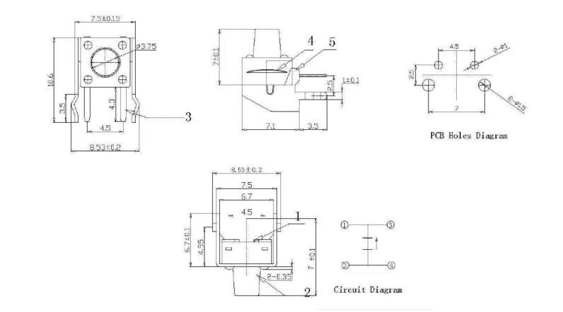 20Pcs Tact Switch 6*6*43mm Horizontal with Bracket Tactile Push