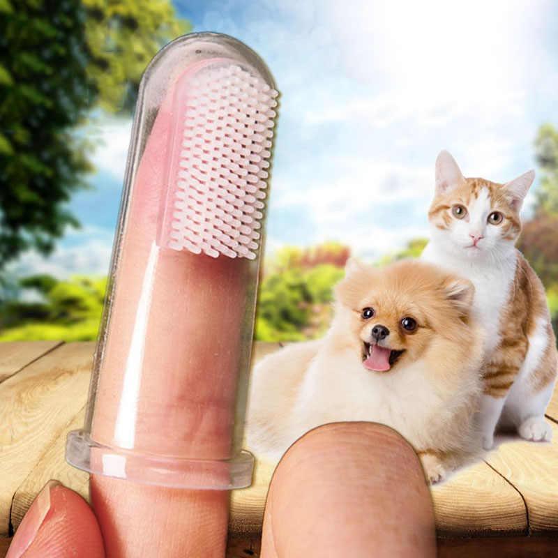 Heißer Verkauf Boxed Haustier Finger Zahnbürste Teddy Hund Pinsel Hinaus Mundgeruch Zahnstein Zähne Pflege Hund Katze Reinigung Liefert