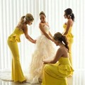 Design de moda Da Sereia Luz Amarela Da Dama de honra Vestidos Longos Até O Chão Vestidos de Festa de Casamento 2016 Querida