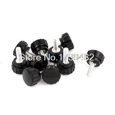 10 Pcs 18mm Dia Plastic Head M5 x 15mm Thread Nonslip Clamping Screw Knob