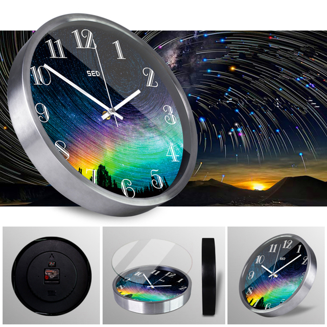 Brilliant aurora rainbow color  Metal wall clock Nordic style Modern decor Watches and clocks