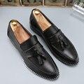 designer man tassel mens shoes brown luxury brand loafer ballet flats pointed toe male footwear 2016 oxford dress shoes for men