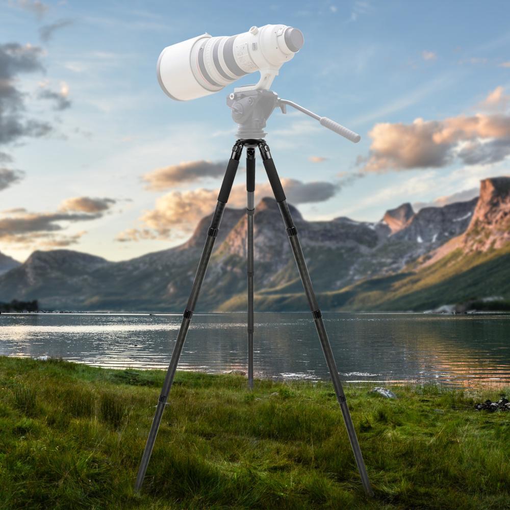 Image 2 - L404C プロのカーボンファイバー三脚なしバードウォッチング mid アクスル 40 ミリメートル大型チューブデジタルカメラ、ビデオカムコーダ用三脚   -