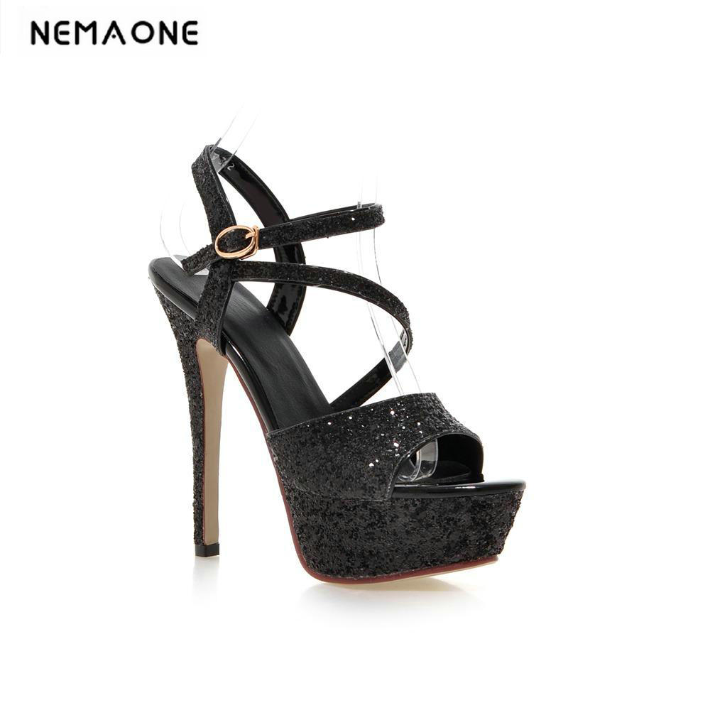 New 2018 luxury platform high heels women sandal sexy party shoes woman cross strap high heeled sandals large size 34-43 brand new qitong pu 13cm woman thin ultra heels platform lady sandals nightclub t walk woman shoes high heeled sexy party shoes