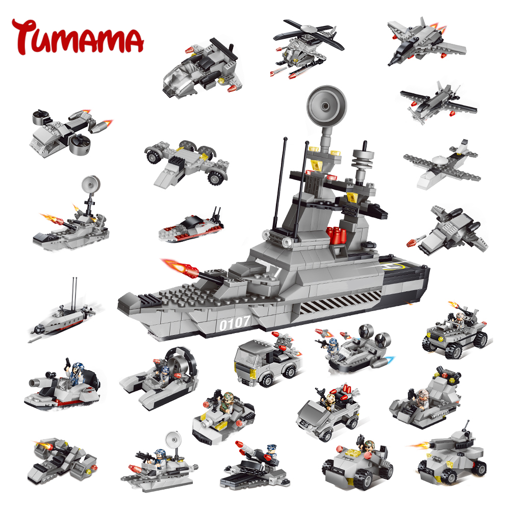 Tumama 829PCS Military Blocks Toy 8 IN 1 Warship Fighter Tank Army Soldiers Bricks Building Blocks Educational Toys For Children cogo 743pcs set diy educational 8 in 1 armed building blocks model military weapon ship tank fighter assembling bricks toys kids