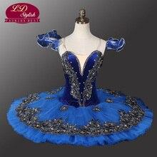 Velvet Blue Bird Ballet Tutu Black Swan Professional For Competition Stage Performance  LD0013