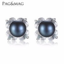 PAG&MAG Brand 100% Genuine Natural Freshwater Black Pearl Earrings  For Friends Wedding Gift 925 Sterling Silver Jewelry Flower
