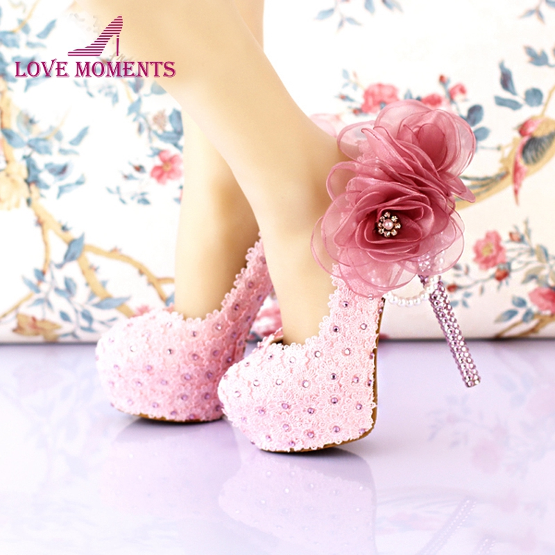 2018 Handmade Pink Lace Wedding Shoes Women Pumps Bridal Dress Prom Shoes Party Shoes Beautiful Applique Bridesmaid Shoes