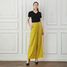 cc5a2c5c92d8 VOA Women s Fashion High Waist Wide Leg Pants Yellow Korean Palazzo Trousers  Ladies Casual Loose Luxury