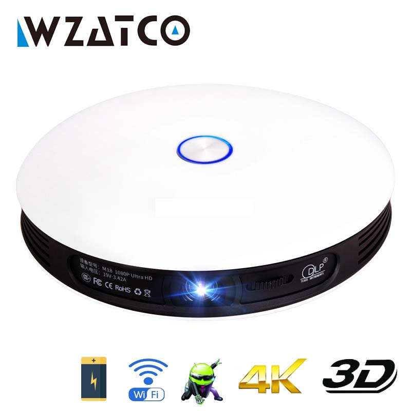 WZATCO Full HD 1080P 4K LED Active Mini DLP 3D Projector Android Smart WIFI 12000mAh Battery