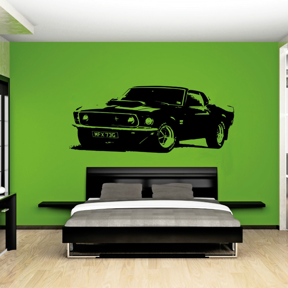 Removable Vintage Xl Large Car Ford Mustang 1969 Wall Art Decal Sticker Home Decoration Art Mural