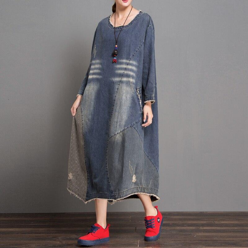 Freies Verschiffen 2019 Neue Mode Lose A linie Denim Langarm Kleider Frauen Lange waden Plus Größe Patchwor Kleider mit Löcher-in Kleider aus Damenbekleidung bei  Gruppe 1