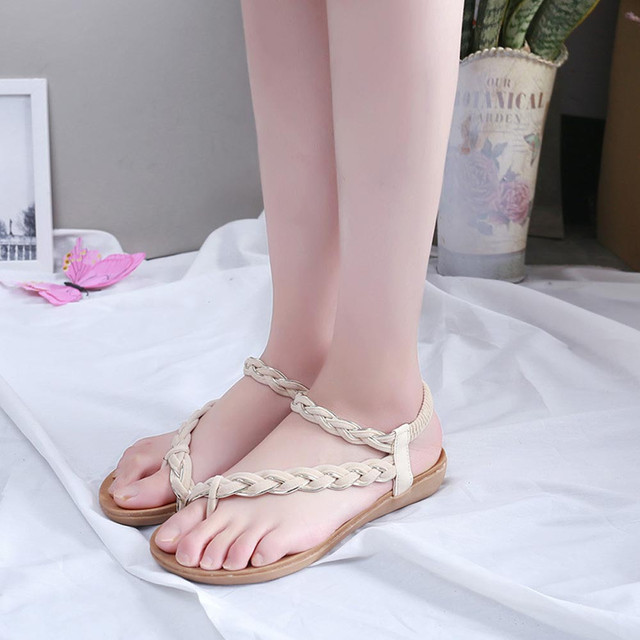 739f1a473b2 Casual Sandles Women Flat Shoes Summer Casual Bandage Bohemia Leisure Beach  Sandals Peep-Toe Zapatos Mujer Outdoor Shoes