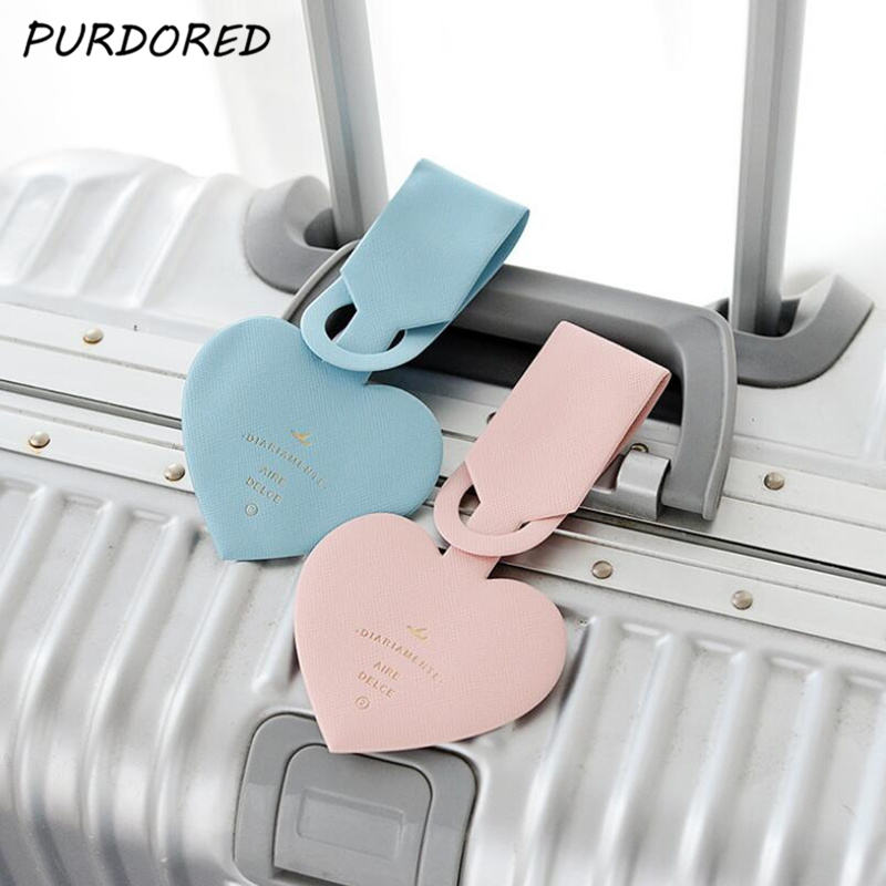 PURDORED 1 Pc Simple Love Heart Luggage Tag PU ID Address Holder Baggage Boarding Portable Suitcase  Label Luggage Case Tag