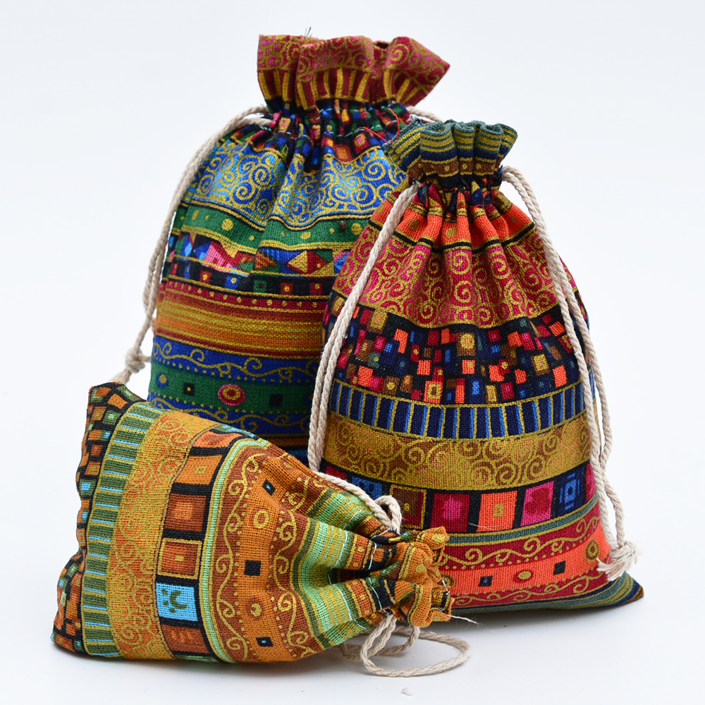 086971e431 10x14cm Multicolor Tribal Tribe Cotton Linen Drawstring Bags Candy Gift  Beads Jewelry Bags Wedding Favors Pouches For Storage-in Gift Bags    Wrapping ...