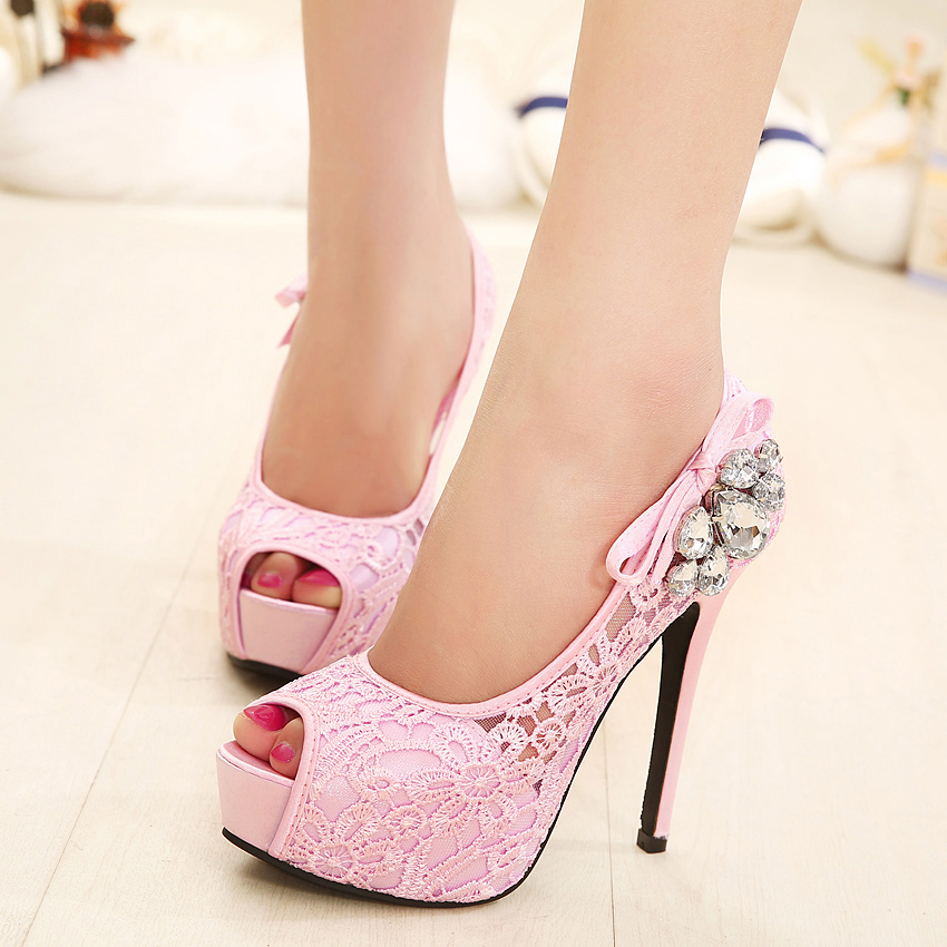 Big size Shoes Sweet Women Pumps Crystal High Heels Shoes Flower Pink  Wedding Shoes Chaussures Mariage Strass Peep Toes Pumps-in Women s Pumps  from Shoes on ... 7a85d339b251