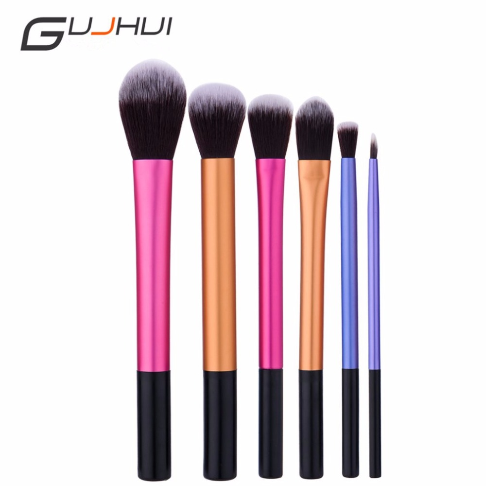 Long Straight Makeup Brush Rose Gold Foundation Brush Beauty Tool Cosmetic Brushes 6pcs Set Blending Powder Hot New new store free shipping beauty and the beast rose gold makeup brush cosmetic brush woman gift eyeshadow contour concealer