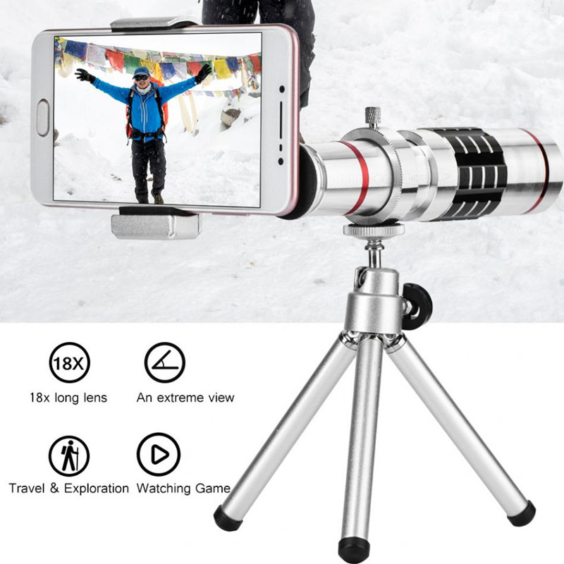 Optical <font><b>18X</b></font> Telescope <font><b>Lens</b></font> Phone Camera Zoom <font><b>Lenses</b></font> for Most of Smartphones With Tripod Cell Phone Telephoto Lentes Kit 01 image