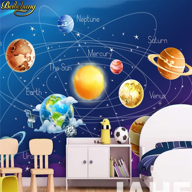 beibehang papel parede 3d Cartoon cosmic sky children's room bedroom mural wallpaper for living room wall paper for wall roll