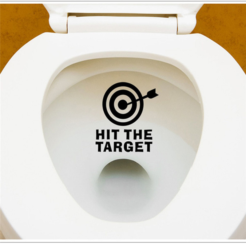 DIY Arrow& HIT THE TARGET Toilet Seat Bathroom Sticker waterproof letter remind funny toilet stickers hot selling