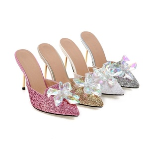 Image 2 - MORAZORA Summer sandals women shoes rhinestone thin high heels shoes 9.5cm party shoes elegant pointed toe large size 34 43