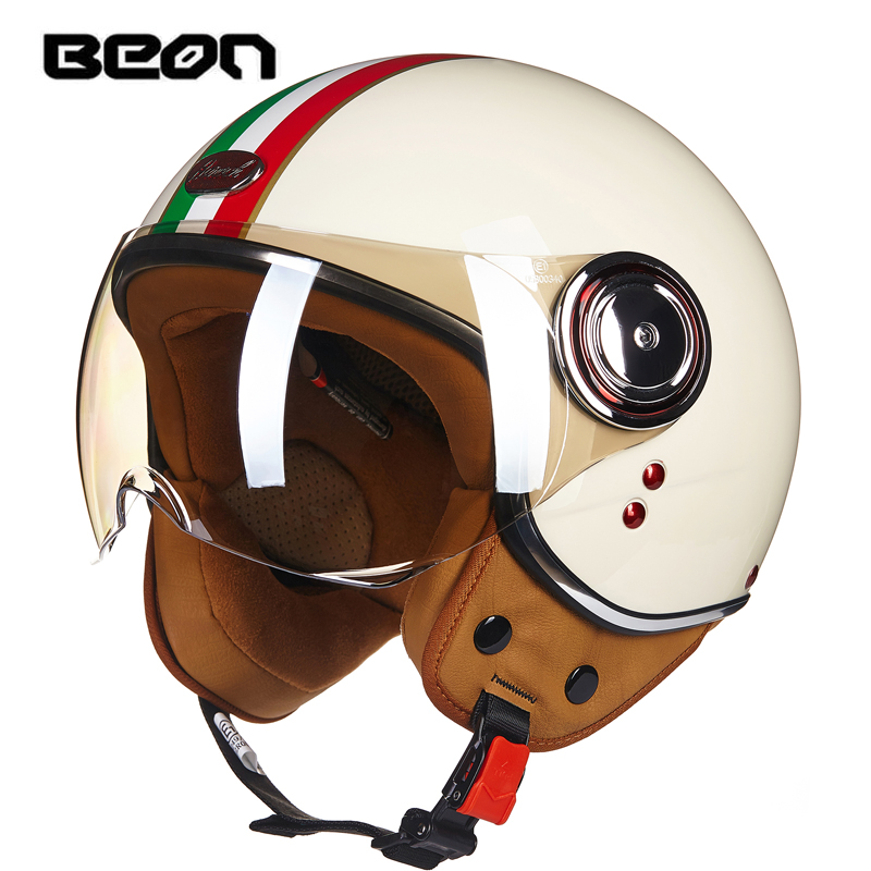 BEON moto 3/4 demi-visage casque Scooter Motocross casque Jet Vintage rétro casque ECE Casco avec pare-vent B110